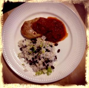 Porck chops w black bean rice and chili tomato sauce