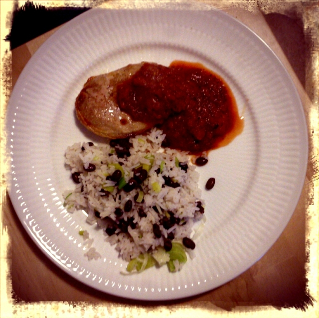 Porck chops w black bean rice and chili tomato sauce